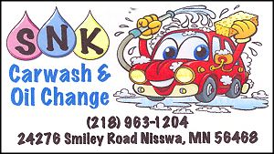 Nisswa, Minnesota carwash and oil change.